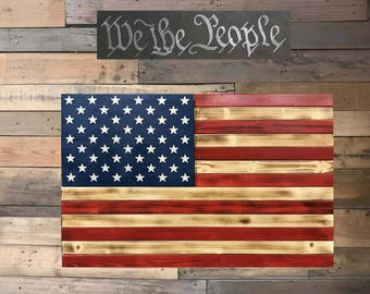 Glossy Red & Natural American Flag
