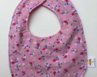 Drool Bib. Baby Girl Tiny Blue Flowers on Pink. Backed with Soft Fuchsia Minky