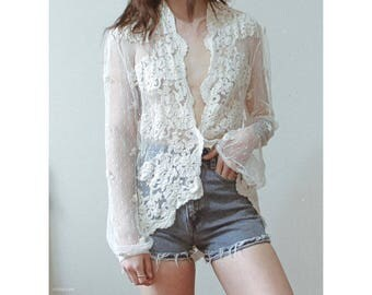 Vintage sheer lace blouse cardigan with metallic accents / Boho bohemian minimal delicate dainty bell sleeves