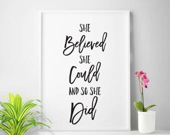 "Office decor, ""She Believed She Could And So She Did"" office print, home office wall art, office printable art"