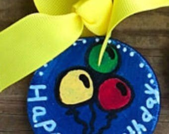 Happy Birthday Wooden Gift Tags (Balloons)