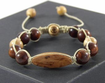 Bracelet made of Cocobolo and curly birch - man-Woods Beads Bracelet gemstone-made hand Taamak