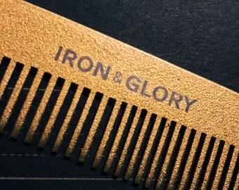 """6"""" Metal Pocket Comb, Gold"""