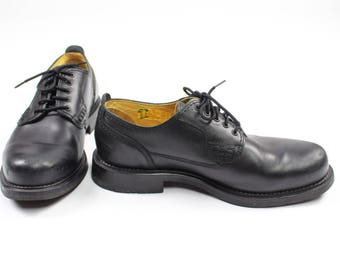 90's Genuine Black Leather Lace-Up Loafers
