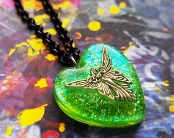 Absinthe Fairy Necklace - La Fee Verte, green glitter faerie, resin heart pendant