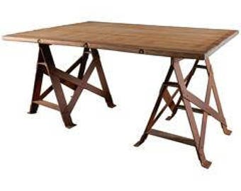 Industrial Trestle Work Table,Vintage Trestle Table,Rustic Decor,Table,  Desk,