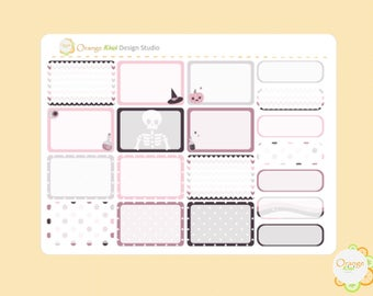 Pink Skeleton Half Box Planner Stickers, Halloween Planner Stickers, Erin Condren Life Planner, Happy Planner, Filofax