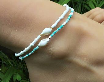 Anklet, Turquoise Anklet, Ankle Bracelet, Foot Bracelet, Shell Anklet, Beaded Anklet, Beach Anklet, Beach Anklet, Shell Jewelry, Boho Anklet
