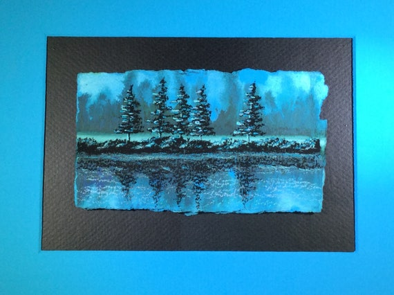 landscape painting of trees and water
