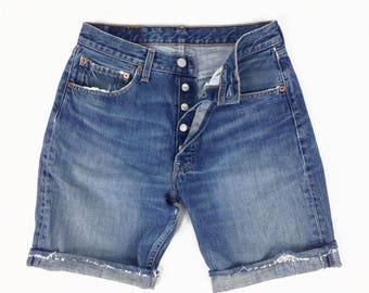 Levi's 501 Shorts 30, Button Fly 501s, High Waisted Shorts, 501s Shorts, Denim Shorts, Jean Shorts, Long Denim Shorts, SIZE 30 x 9