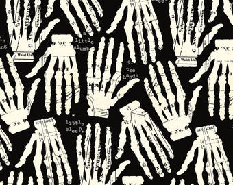 Quilting Treasures - Queen of We'en Tossed Skeleton Hands *Half Yard Cuts*