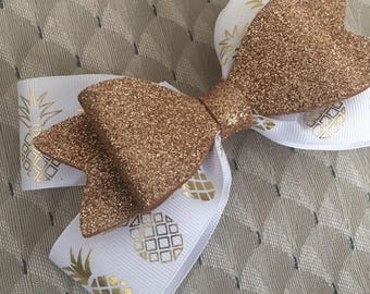 Gold and white pineapple hair bow