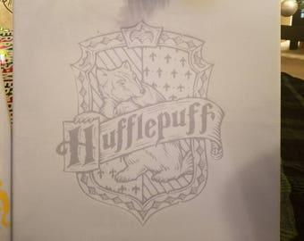 Hufflepuff house sigil on fabric