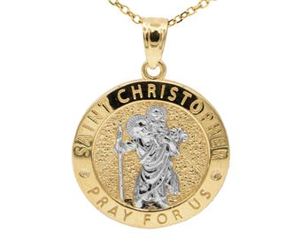 14k Yellow Gold Saint Christopher Pray For Us Medallion Necklace