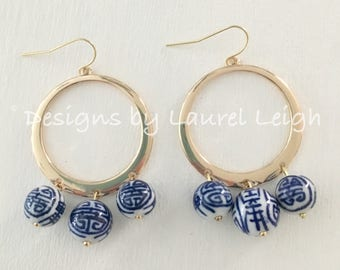 GOLD Chinoiserie Earrings | hoops, hoop, dangle, lightweight, blue and white, designs by, laurel leigh, statement earrings