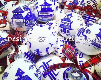 Blue and White Chinoiserie Ornaments | ASSORTED Set of 6, CUSTOM ORDER | Hostess, Holiday, Christmas, Housewarming, Gift, Pagoda