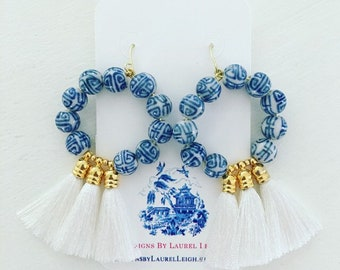 Chinoiserie Tassel Hoop Earrings | WHITE, blue and white, gold, Ole Miss, game day, team colors, UK, UNC