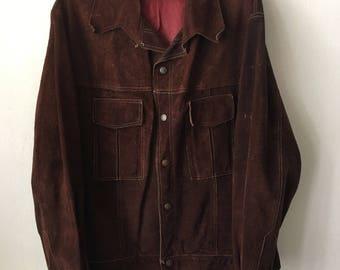 Stylish Long Sleeve Vintage Bright Brown Soft Genuine Suede Jacket Men's Size Medium.