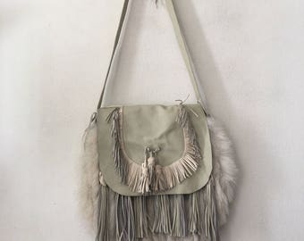 White crossbody women's bag, from real polar fox fur, leather & leather fringe, fluffy fur, old leather, new bag, winter bag, size - medium.