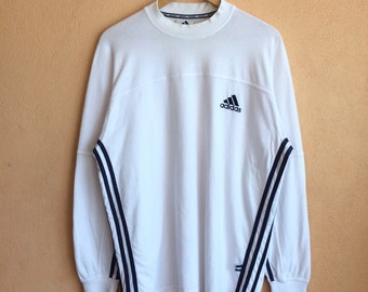 Rare !! Vintage Adidas Three Stripe Long Sleeve Tshirt Size L