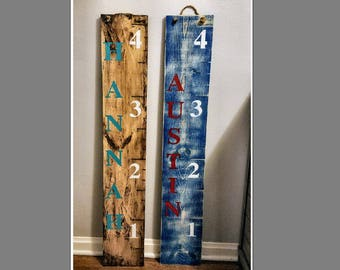 Family Growth Chart Ruler, Rustic, Personalized Kids Growth / Measuring Chart, Wood Ruler Chart, Growth Chart, White Ruler, Stained Ruler