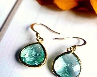 Blue Stone Earrings/Blue Boho Earrings / Raw Stone Earrings/Dainty Boho Earrings/Blue Stone Earrings/Gold Dangle Earrings/Gemstone Earrings