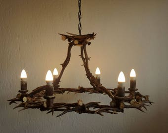 Antler Chandelier For 6 Lights With Roebuck Antler Wall Antlers Rustic  Decor Real Antlers Mancave Decor