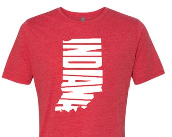 Indiana Home shirt, Indiana shirt, Indian Home, Red Indiana shirt, Home shirt, Indiana outline, Made by Enid and Elle
