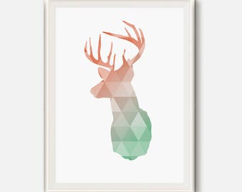 Deer Head, Coral and mint, Deer wall Art, Geometric Deer, Deer antler, Animal Decor, geometric print, Coral mint Deer art, Animal Printable
