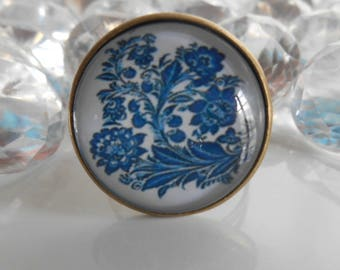 "Ring bronze ""Asian garden"" glass cabochon"