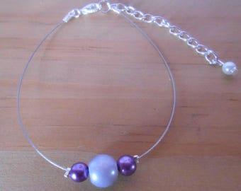 Simple purple and purple wedding bracelet