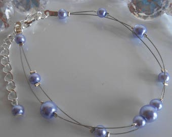Bracelet 2 wedding Lavender pearl beads strands