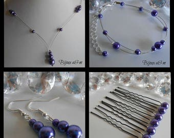 Set of 4 wedding pieces cascade of pearls purple
