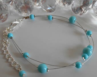 Wedding 2 bracelet ranks turquoise pearls