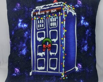 Dr. Who Christmas Pillow Cover - 12x12 - Tardis Holiday Pillow Cover - OOAK - Ready to Ship