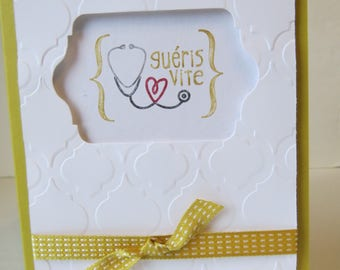 "Get Well Soon Card ""Yellow Stethoscope"""