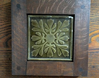Framed Antique Fireplace Tile- Gold/Brown