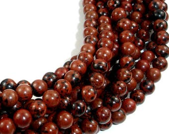 Set of 20, 50 or 100 Perle Obsidienne (snowflake) speckled mahogany (Burgundy and black) 6mm or 8mm natural