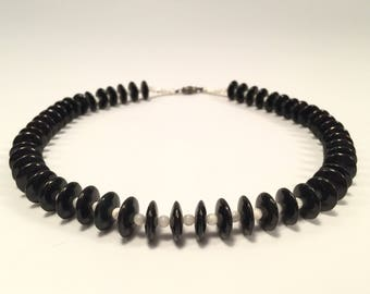 Vintage Black and White Beaded Choker Necklace