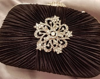 Black Satin Vintage Design Evening Bag
