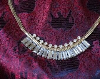 Beautiful, Elegant Gold tone necklace with White Rhinestone, Graduation necklace