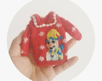 Blythe handmade sweater【The Snowman】/handmade/knitting/vest/outfit/clothe/licca