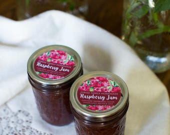 Customized Raspberry Jam Canning Label - Raspberry Jelly - Watercolor Style Canning Jar Label - Wide Mouth & Regular Mouth