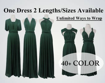 Green party dresses, infinity dress, infinity convertible wrap dress, formal dress, short multi wear dress, twist wrap dress long