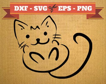 Kitten File DXF  Silhouette cat Svg, Png, Dxf cats, cricut clipart, vector, kittens Silhouette laser cutting, digital cutting