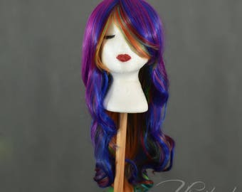 Rainbow Wig | Ombre Wig | Multicolor Wig | Purple Wig | Wavy Wig | Long Wig with high quality synthetic hair