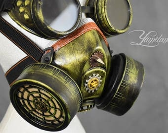 Green Steampunk Mask with Goggles | Steampunk Respirator | Stalker mask | Dust Mask | Cosplay Mask | Burning Man Festival | Steampunk mask