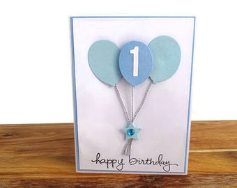 1st birthday card, First birthday card, Boys 1st birthday card, Baby boy first birthday card, Boy birthday card, Milestone birthday card