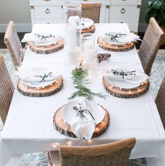 Barn Wedding Table Decorations: Rustic Christmas Gift Wood Slice Plate Chargers Christmas
