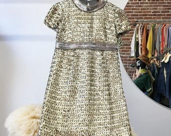 Sold in store. Do not buy.  Sixties 1960s Gold Sequin Mini Dress. Size Extra Small